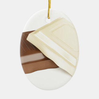 White and brown chocolate ceramic oval ornament