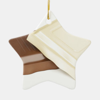 White and brown chocolate ceramic star ornament