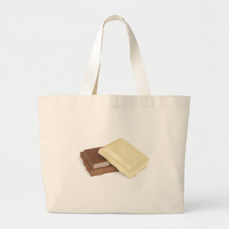 White and brown chocolate large tote bag