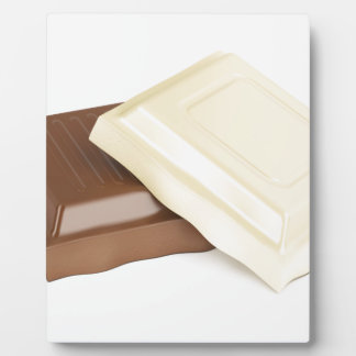 White and brown chocolate plaque