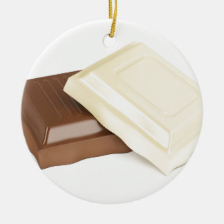 White and brown chocolate round ceramic ornament