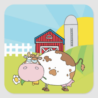 White and brown cow in front of farm scene square sticker