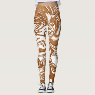 White and brown marble abstract effect leggings. leggings