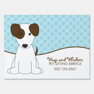 White and Brown Puppy Pet Care Sign