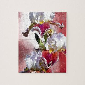 White and Burgundy Irises Jigsaw Puzzle