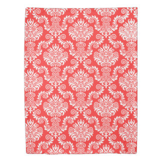 White and Coral Damask Pattern{pick your color} Duvet Cover