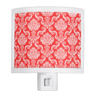 White and Coral Damask Pattern{pick your color} Night Lite