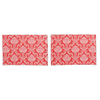 White and Coral Damask Pattern{pick your color} Pillowcase