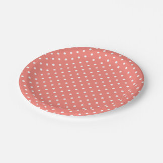White and Coral Pink Polka Dot Pattern Paper Plate