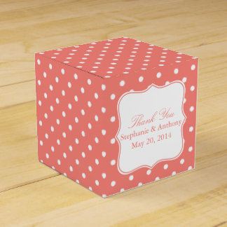 White and Coral Pink Polka Dot Thank You Favor Boxes
