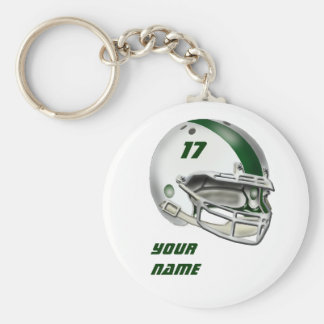 White and Dark Green Football Helmet Keychains