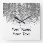 White and faux glitter personalized square wall clock