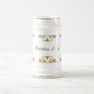 White and Gold  22 oz Stein