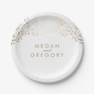 White and Gold Baby's Breath Wedding Paper Plate