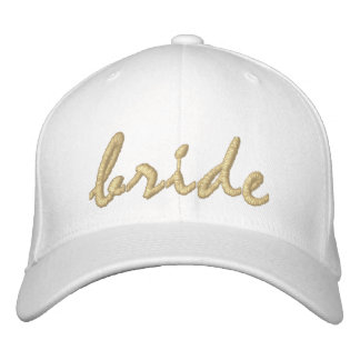 White and Gold Bride Embroidered Hat