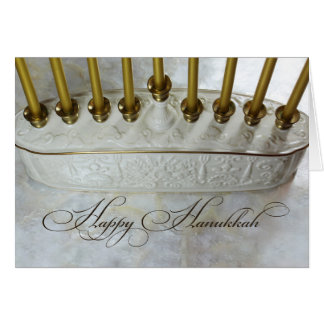 White and gold ceramic menorah Hanukkah card