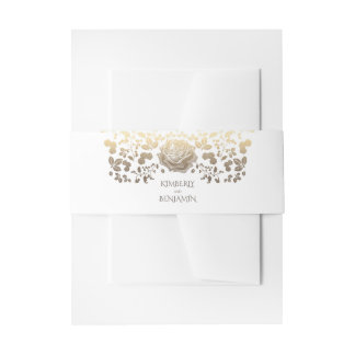 White and Gold Classy Vintage Flowers Elegant Invitation Belly Band