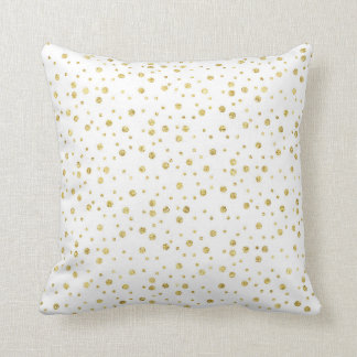 White and Gold Confetti Chic Pattern Throw Pillow