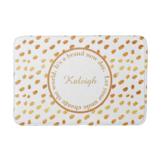 White and Gold Confetti Inspirational Bath Mat