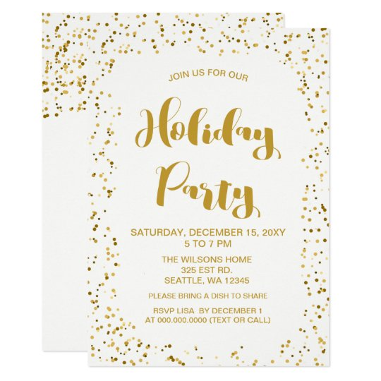 White and Gold confetti Modern holiday Party Card