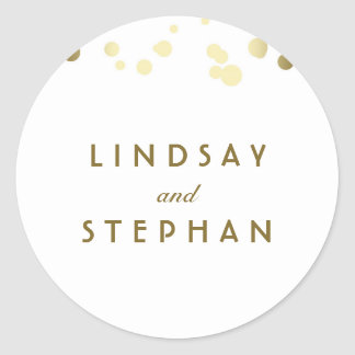 White and Gold Confetti Wedding Classic Round Sticker