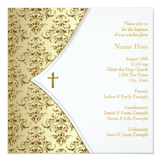 White and Gold Cross Christening Personalized Invitations