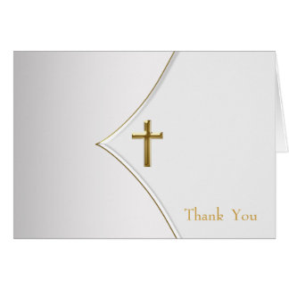 White and Gold Cross Christening Thank You Cards
