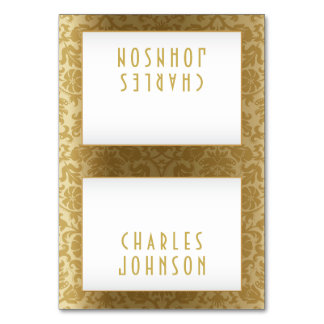 White and Gold Damask - Place Cards