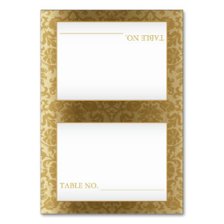 White and Gold Damask - Table Seating Cards