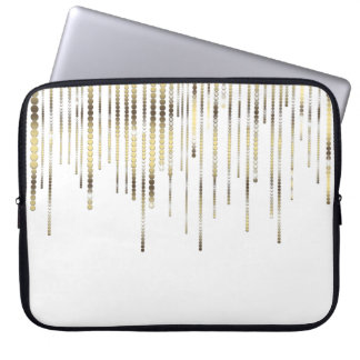 White and Gold Drape Metallic Luxury Laptop Sleeve