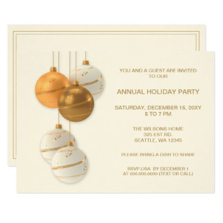 White and Gold Elegant Corporate Holiday Party Card