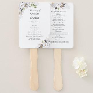 White and Gold Elegant Floral Wedding Program Hand Fan