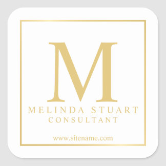 White and Gold Elegant Monogram Business Square Sticker