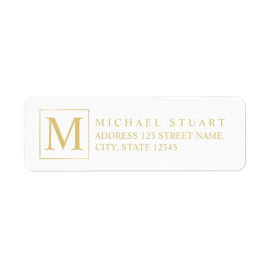 White and Gold Elegant Monogram Return Address Label