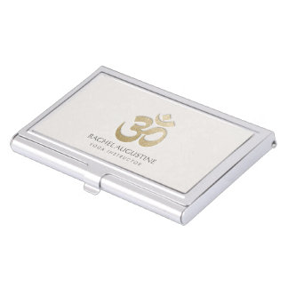 White and Gold Embossed OM Symbol Yoga Instructor Business Card Holder