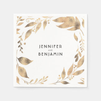 White and Gold Fall Leaves Elegant Wedding Disposable Napkins