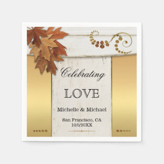 White and Gold Fall Leaves Wedding Paper Napkins