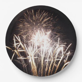 White and Gold Fireworks I Patriotic Celebration 9 Inch Paper Plate