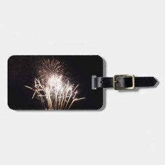 White and Gold Fireworks I Patriotic Celebration Bag Tags