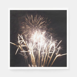 White and Gold Fireworks I Patriotic Celebration Paper Napkin