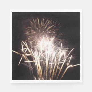 White and Gold Fireworks I Patriotic Celebration Paper Napkins