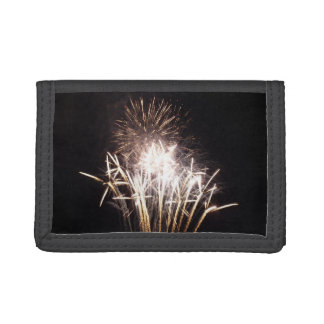White and Gold Fireworks I Patriotic Celebration Trifold Wallets