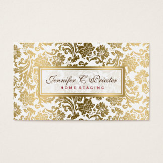 White And Gold Floral Damasks Business Card