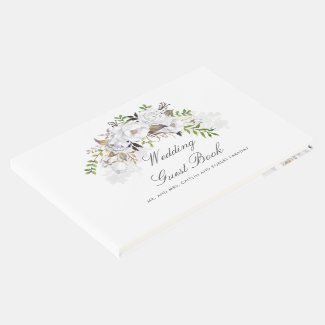 White and Gold Floral Wedding Guest Book