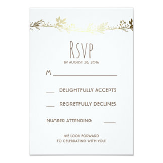 """White and Gold Floral Wedding RSVP 3.5"""" X 5"""" Invitation Card"""