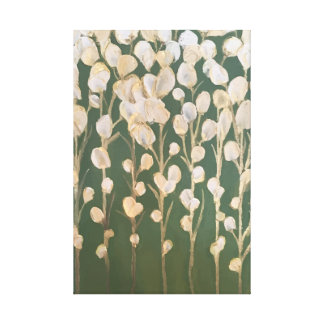White and Gold Flowers Fine Art Canvas Print