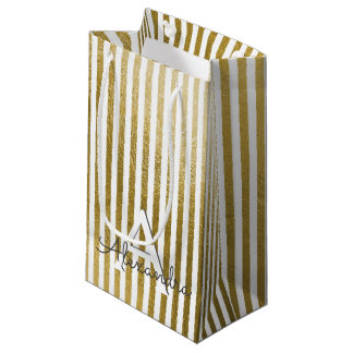 White and Gold Foil Striped Monogram & Initial Small Gift Bag