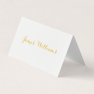 White And Gold Folded Place Setting Cards