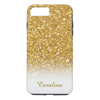 White and Gold Glitter, Personalized with Name iPhone 8 Plus/7 Plus Case
