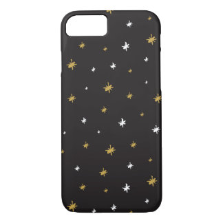 White and Gold Hand Drawn Stars Pattern iPhone 7 Case